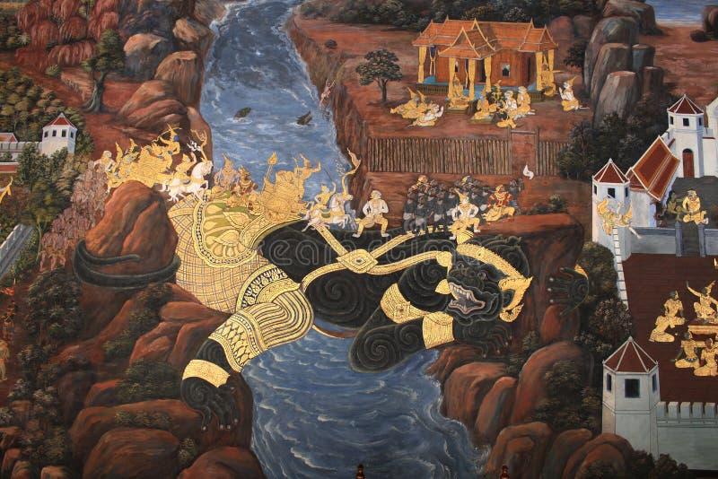 Pintura mural na parede de Wat Phra Kaew fotografia de stock royalty free