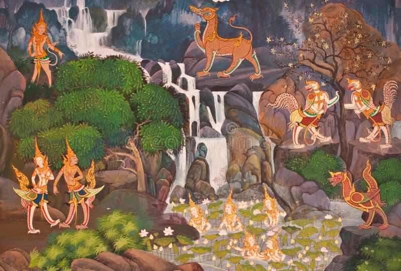 Pintura mural na parede no templo. imagem de stock