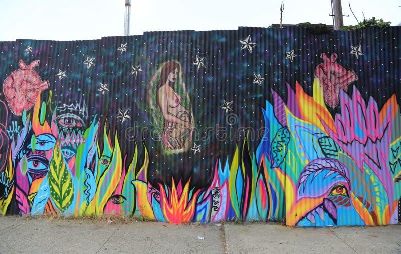 Pintura mural na seção vermelha do gancho de Brooklyn imagens de stock royalty free