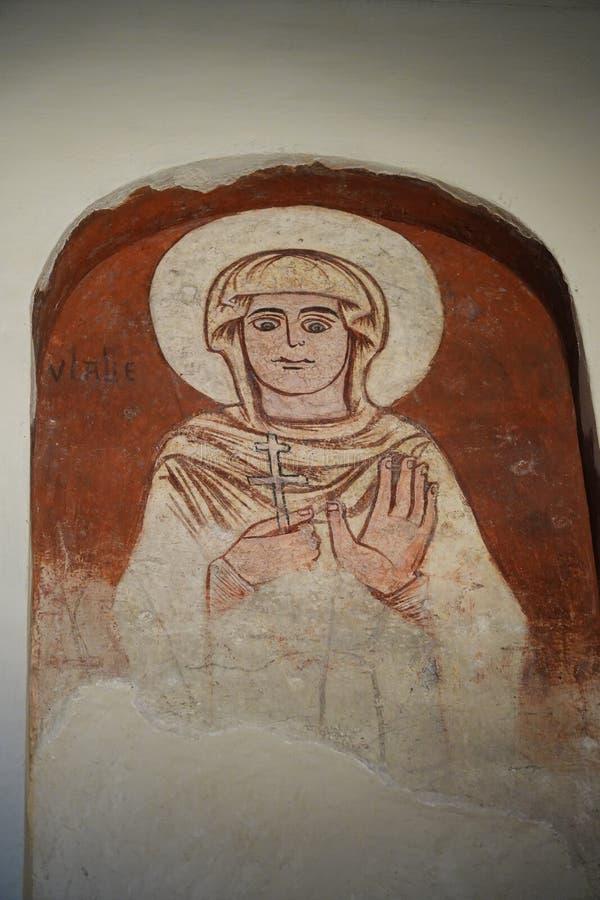 Pintura mural no la Luz de Mezquita del Cristo de em Toledo, Espanha imagem de stock
