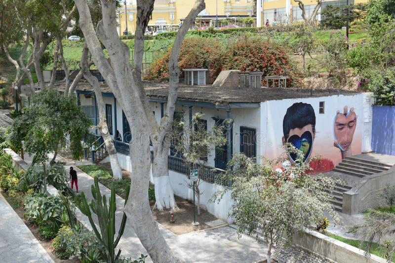 Pintura mural no Peru de Barranco da parede fotos de stock royalty free