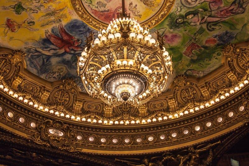Pintura mural no teto do teatro da ópera foto de stock