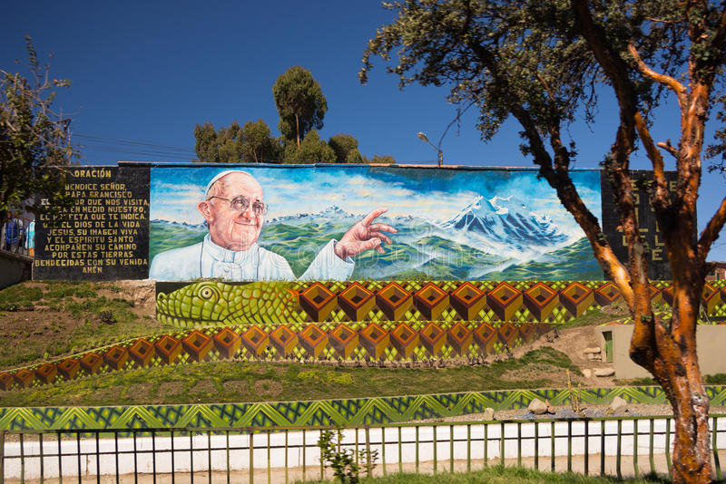 Pintura mural para o papa que dá boas-vindas em La Paz, Bolívia imagem de stock