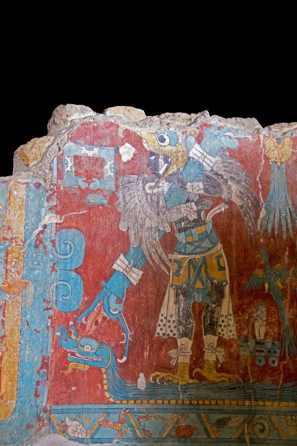 Pintura mural Pre-Columbian de um birdman fotografia de stock royalty free