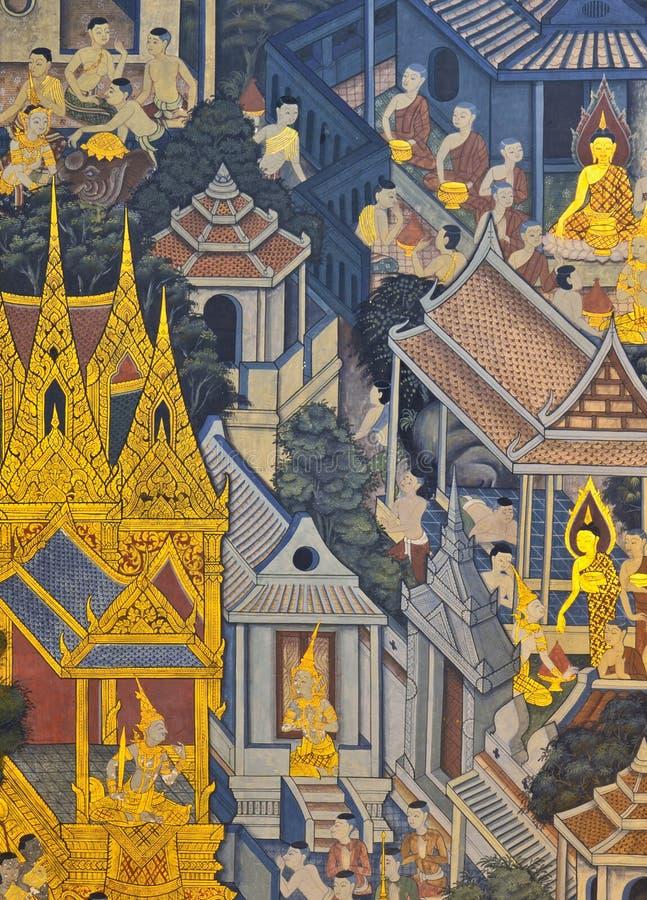 Pintura mural tailandesa fotografia de stock royalty free