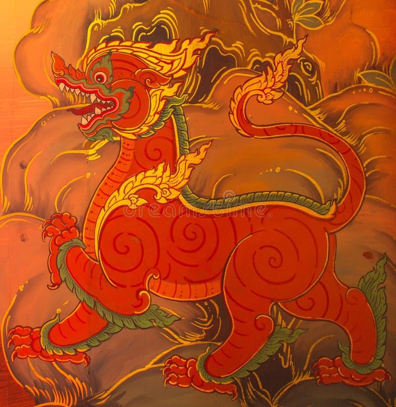 Pintura mural tailandesa de Lai Sing foto de stock