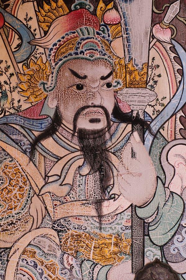 Pintura mural tailandesa, guerreiro chinês foto de stock