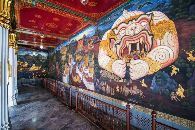 Pintura mural tailandesa no kaew do phra do wat imagens de stock