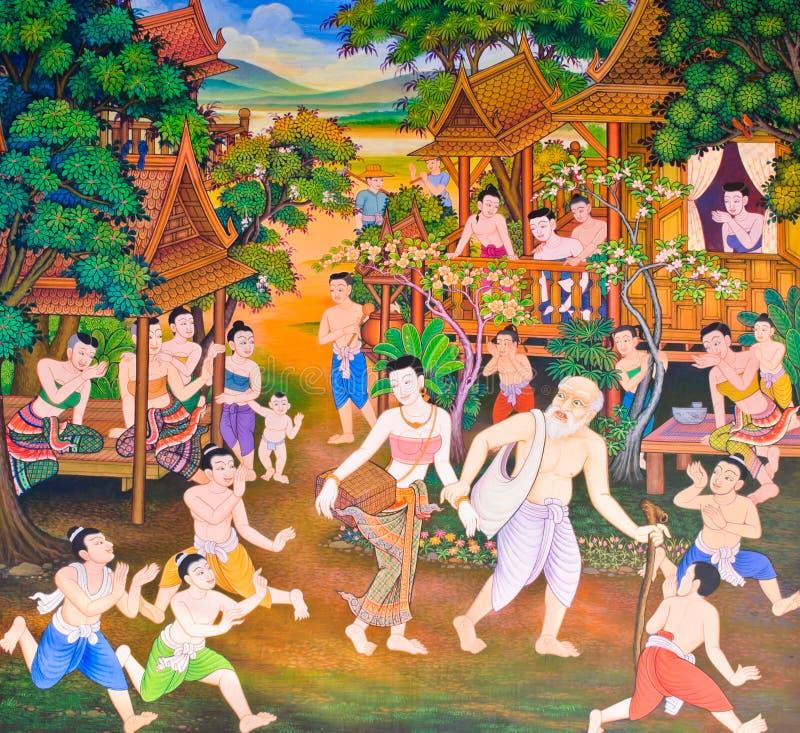 Pintura mural tailandesa tradicional fotografia de stock royalty free
