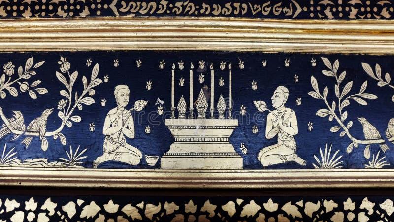Pintura mural tailandesa tradicional imagem de stock
