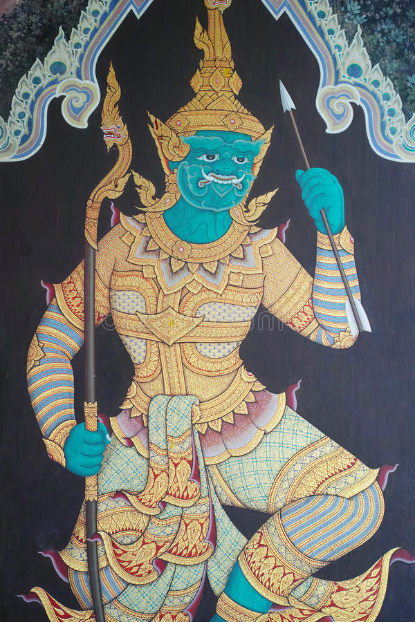 Pintura mural tailandesa tradicional imagens de stock royalty free