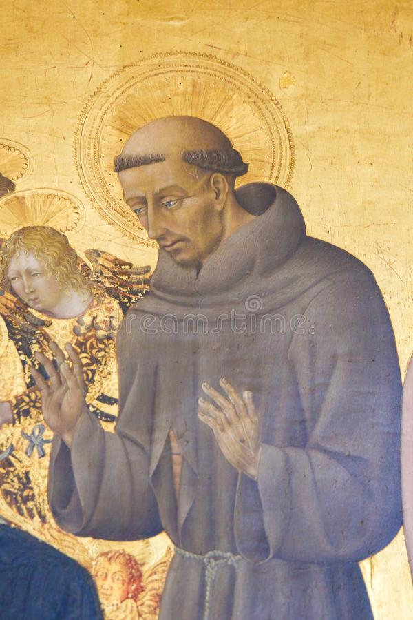 Pintura na catedral de Pienza - St Francis fotografia de stock royalty free
