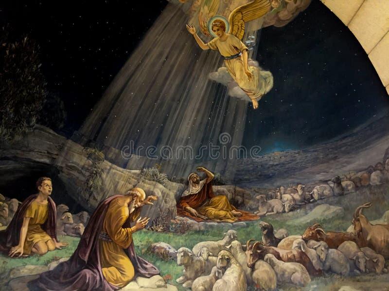 Pintura na igreja dos campos dos pastores, Bethlehem fotografia de stock royalty free
