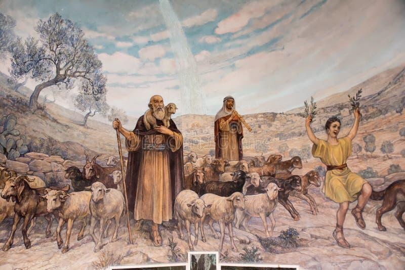 Pintura na igreja dos campos dos pastores, Bethlehem imagens de stock