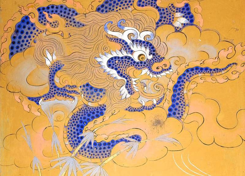 Pintura nas ruínas do palácio de Wangduechhoeling, Bumthang, Butão fotos de stock royalty free