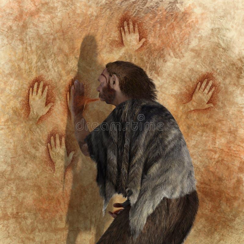 Pintura Neandertal stock de ilustración