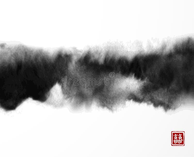 Pintura negra abstracta del lavado de la tinta en estilo asiático del este Textura de Grunge Contiene el jeroglífico - suerte dob libre illustration
