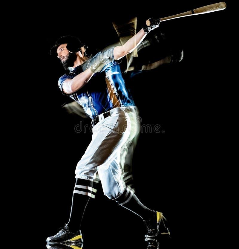 Pintura negra aislada hombre de la luz del fondo del jugador de béisbol fotografía de archivo libre de regalías