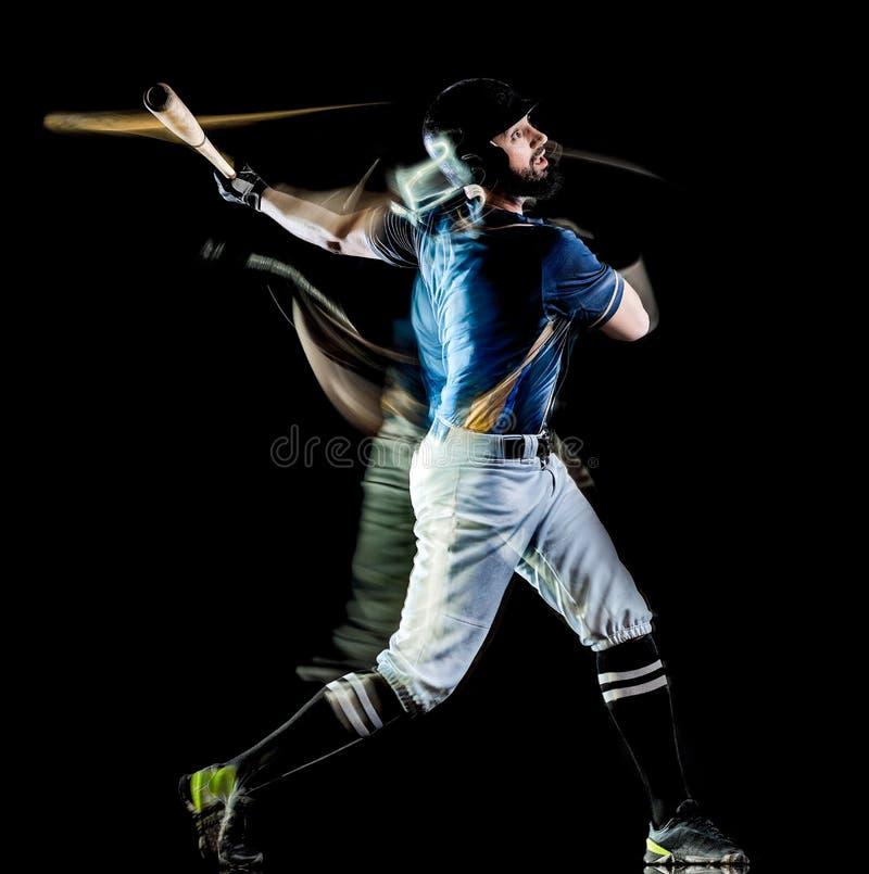Pintura negra aislada hombre de la luz del fondo del jugador de béisbol imagenes de archivo