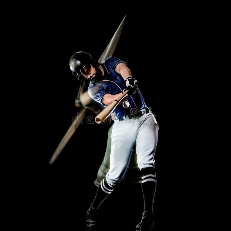 Pintura negra aislada hombre de la luz del fondo del jugador de béisbol imagen de archivo