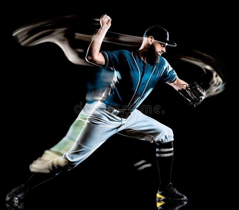 Pintura negra aislada hombre de la luz del fondo del jugador de béisbol imagen de archivo libre de regalías