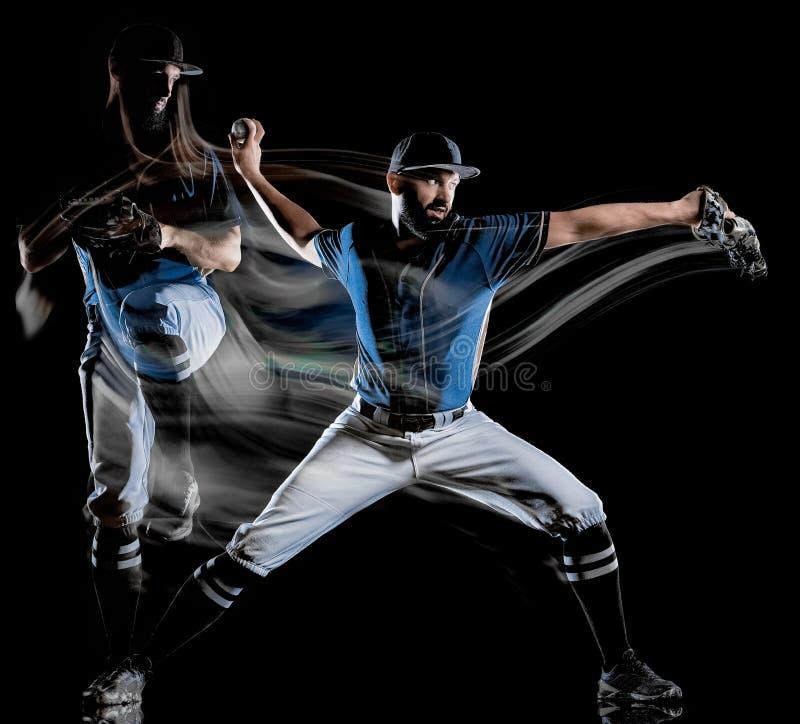 Pintura negra aislada hombre de la luz del fondo del jugador de béisbol fotos de archivo