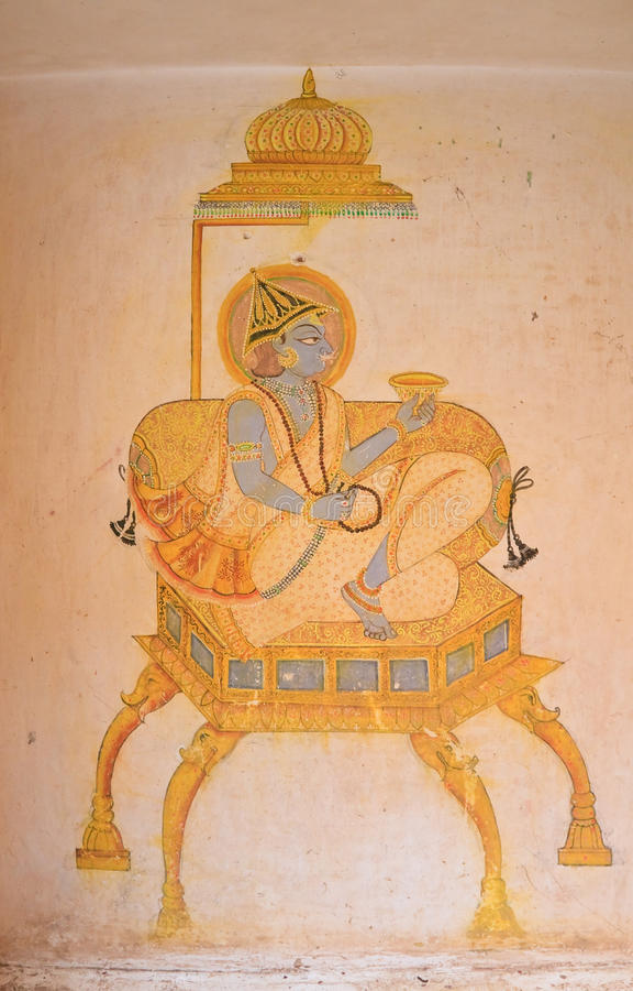 A pintura no forte de Mehrangarh Jodhpur, India foto de stock