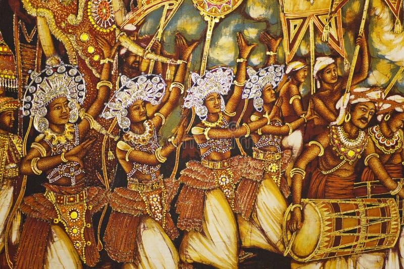 Pintura no templo dourado de Dambulla, Sri Lanka foto de stock