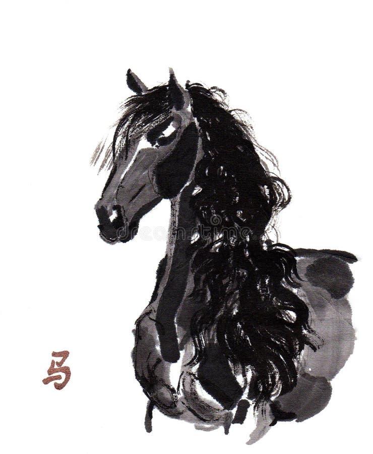 Pintura oriental da tinta do cavalo, sumi-e ilustração royalty free