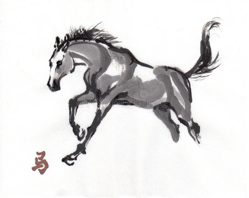 Pintura oriental da tinta do cavalo, sumi-e ilustração do vetor
