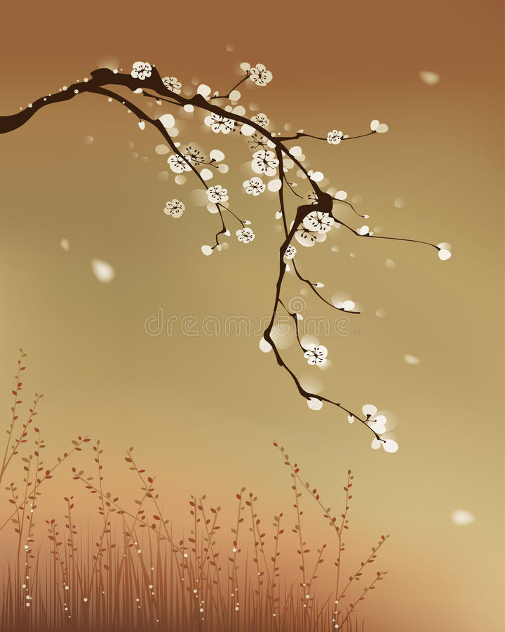 Pintura oriental del estilo, flor del ciruelo ilustración del vector