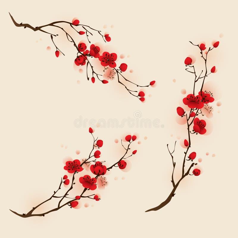 Pintura oriental del estilo, flor del ciruelo en primavera libre illustration