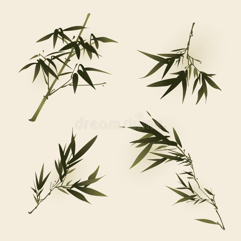 Pintura oriental del estilo, hojas del bambú ilustración del vector