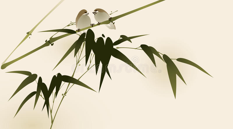 Pintura oriental del estilo, ramificaciones de bambú ilustración del vector