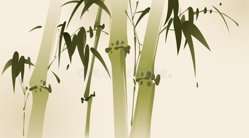 Pintura oriental del estilo, ramificaciones de bambú stock de ilustración