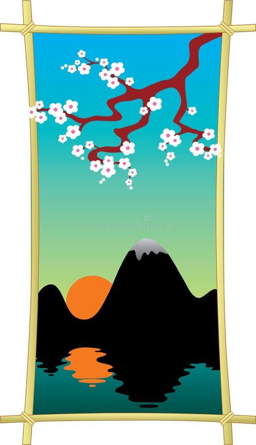 Pintura oriental do estilo, flor da ameixa acima da água ilustração do vetor