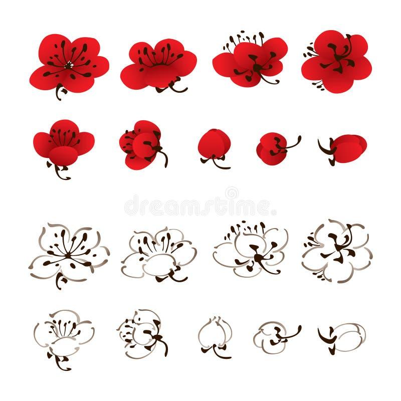 Pintura oriental do estilo, flor da flor da ameixa ilustração royalty free