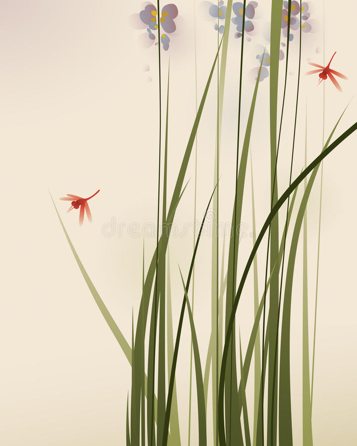 Pintura oriental do estilo, gramas altas e flores ilustração do vetor