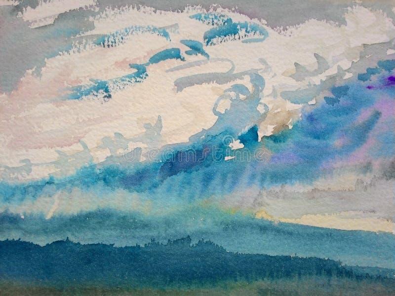 Pintura original da aquarela, pintura de paisagem colorida ilustração do vetor