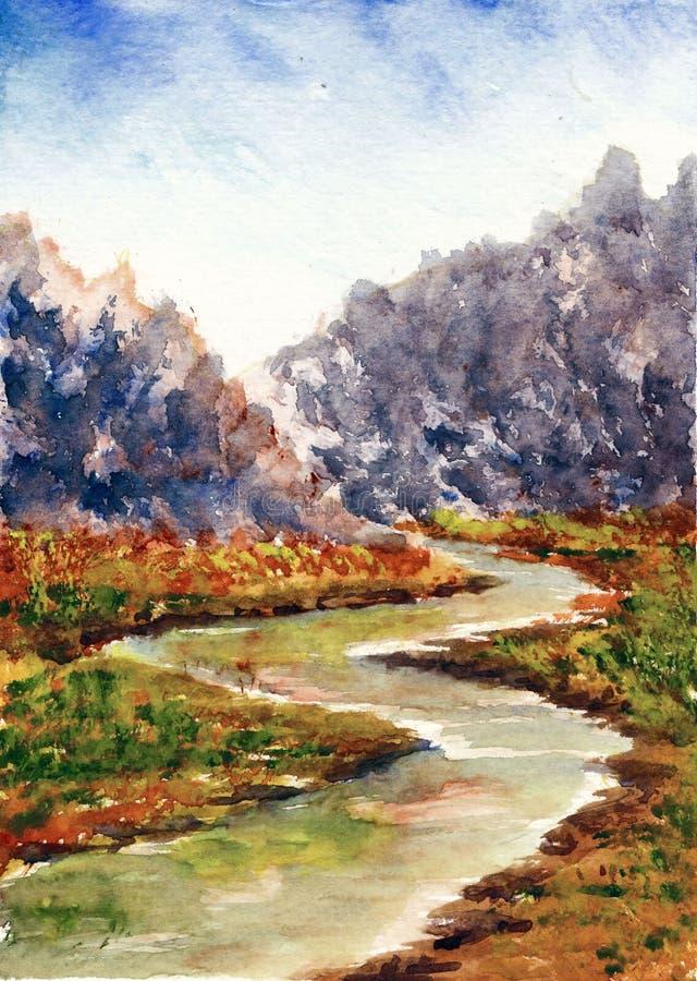 Pintura original de la acuarela - río de la cascada en bosque stock de ilustración