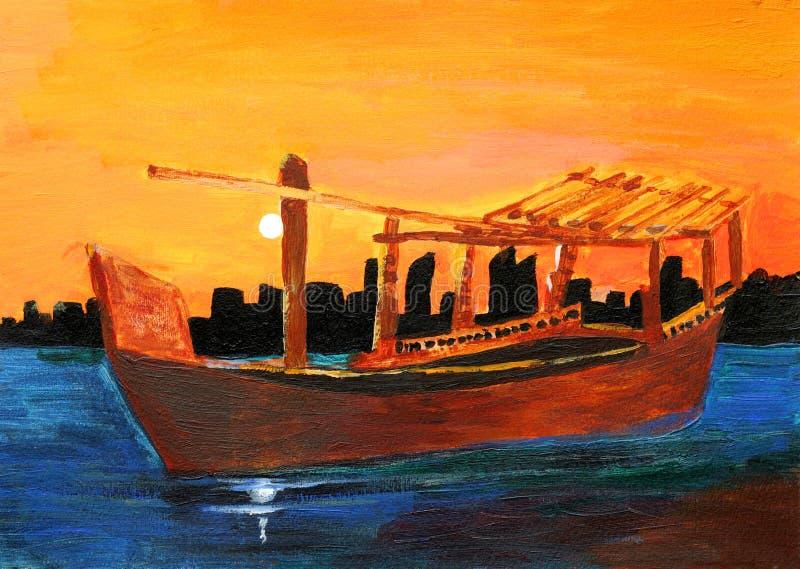 Pintura original de um Dhow no por do sol, uma arte da criança ilustração do vetor