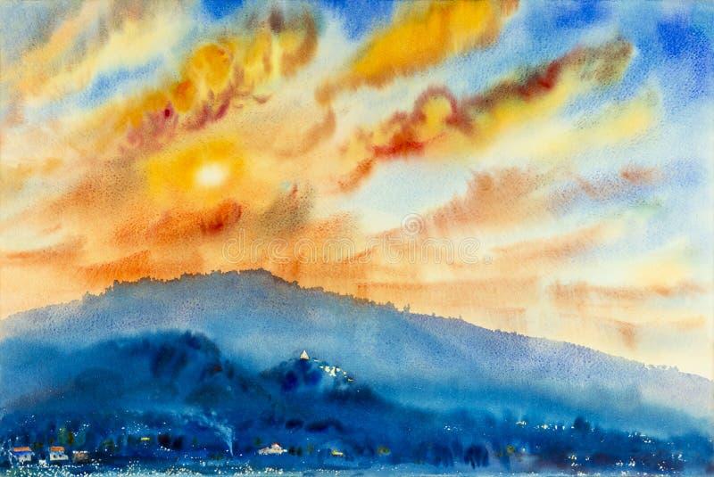 Pintura original del paisaje de la acuarela colorida de la montaña ilustración del vector