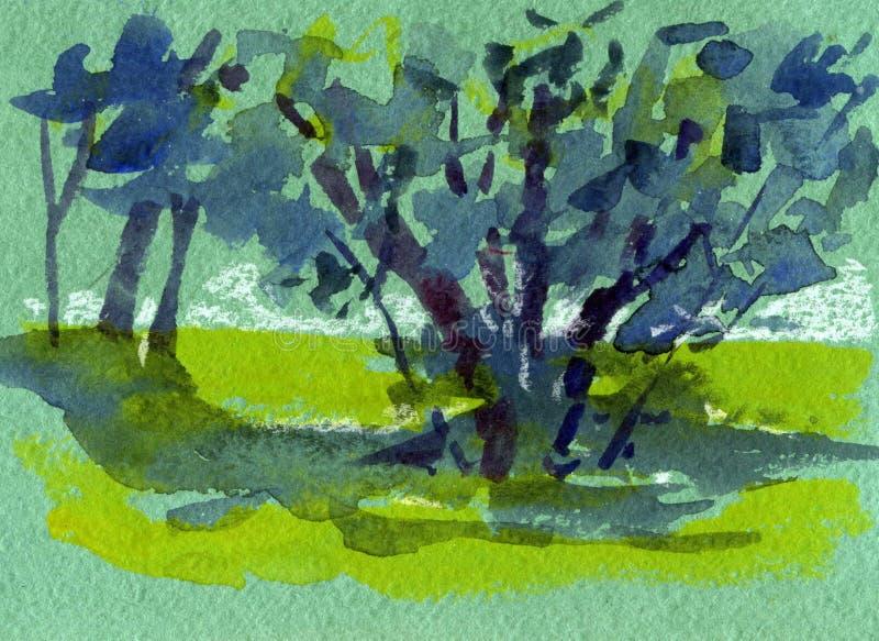 Pintura original del paisaje de la acuarela colorida de hogar con el sol por la tarde y la monta?a en estaci?n de primavera de la ilustración del vector