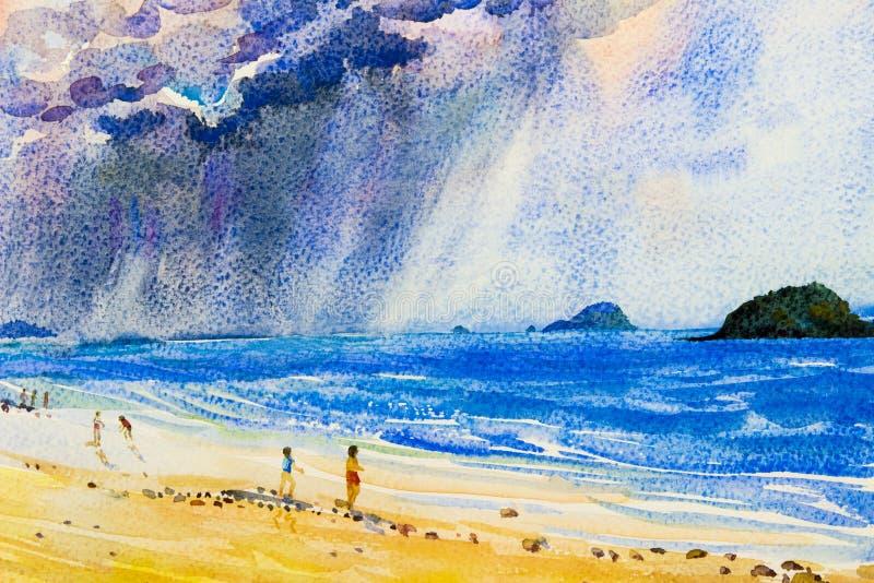 Pintura original del paisaje marino abstracto de la acuarela colorida de la lluvia imágenes de archivo libres de regalías