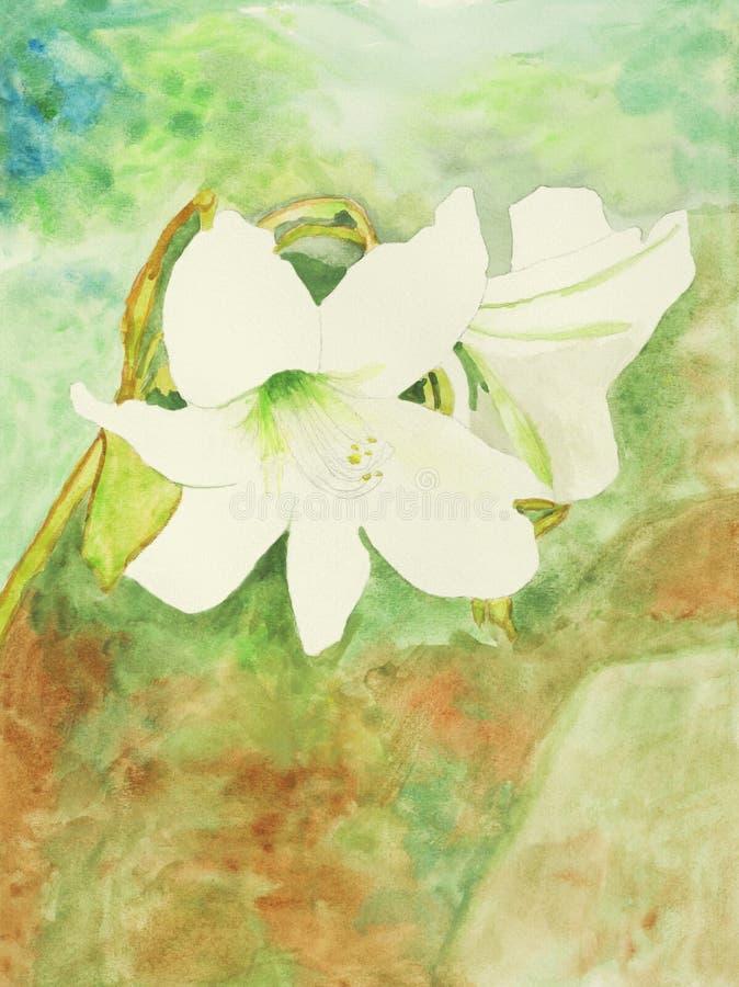 Pintura original do lírio branco, uma arte da criança ilustração royalty free