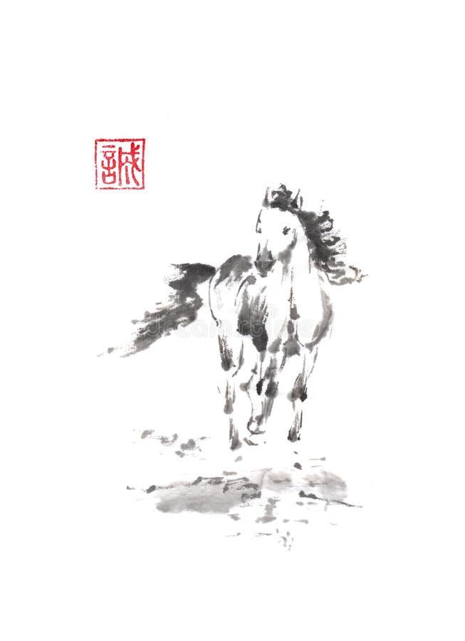 Pintura original running da tinta do sumi-e do estilo japonês do cavalo ilustração do vetor