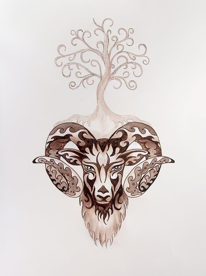 Pintura ornamental del aries, del s?mbolo animal sagrado y del ?rbol de la vida libre illustration