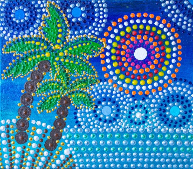 Pintura, palmeras, mandala en la orilla libre illustration