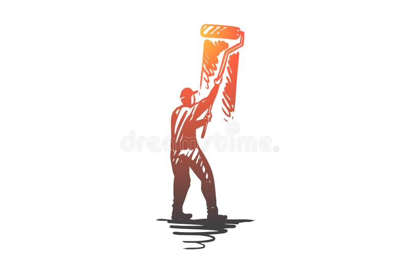 Pintura, pared, cepillo, rodillo, concepto de diseño Vector aislado dibujado mano ilustración del vector