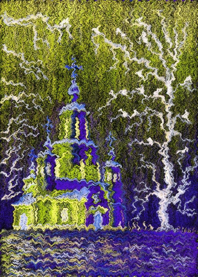 Pintura pastel Igreja bonita, iluminada pelo sol ilustração royalty free